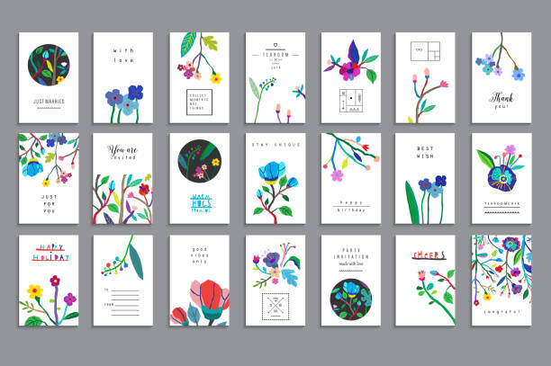 Collection of unusual cards with paper cut flowers Collection of unusual cards with paper cut flowers. Beautiful freehand colorful illustration. Design for poster, card, invitation, placard, brochure, flyer. Isolated greeting cards templates stock illustrations