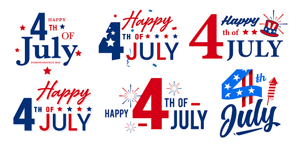 Collection of USA independence day monogram, icon designs with artistic lettering. Vector design