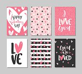 Collection of Valentine's day cards with lettering. Typography poster, card, label, banner design set. Vector illustration.