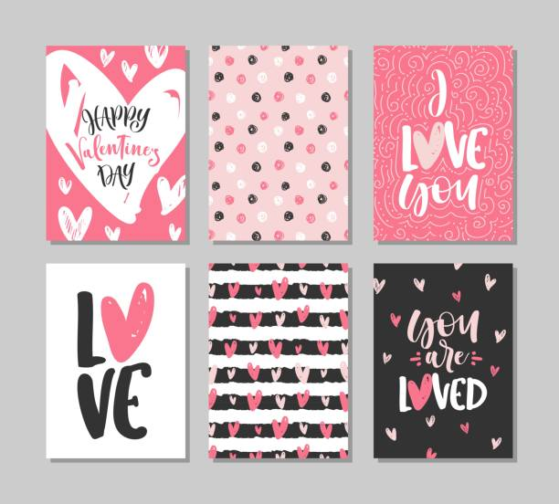 collection of valentine's day cards with lettering. typography poster, card, label, banner design set. vector illustration. - valentine card stock illustrations