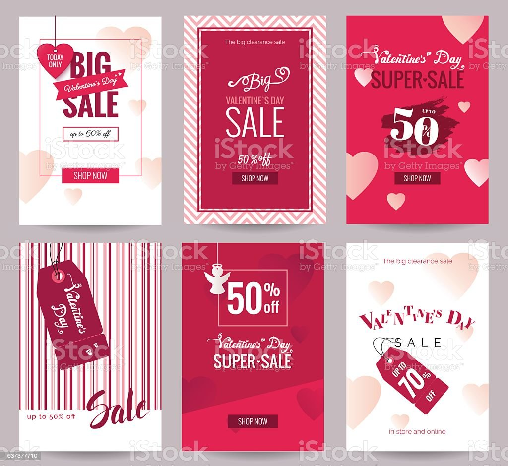 collection of valentines day sale flyer templates stock vector art