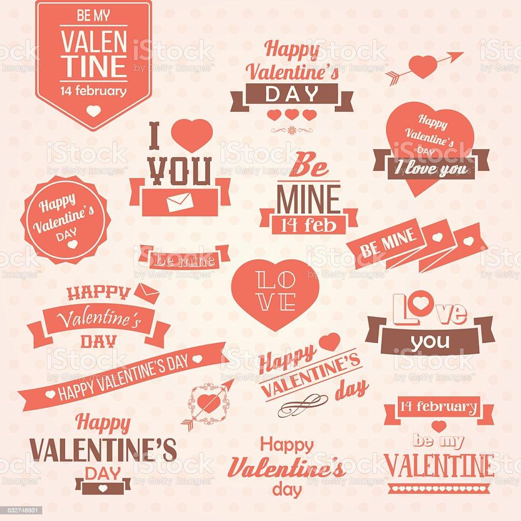 Collection of Valentine's day vintage labels, typographic design elements vector art illustration