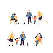 Collection of various activities with grandparents. Cute grandma hugging with grandson. Grandfather have fun with little children. Set of elderly people isolated on white. Trendy vector illustration