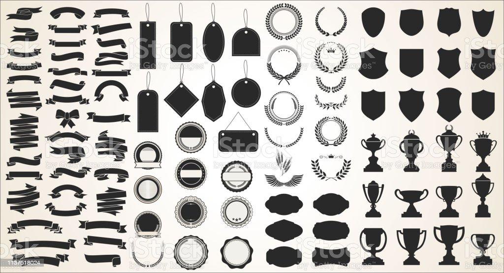 Una colección de varias cintas negras etiquetas de laureles escudos y trofeos ilustración de una colección de varias cintas negras etiquetas de laureles escudos y trofeos y más vectores libres de derechos de arreglar libre de derechos