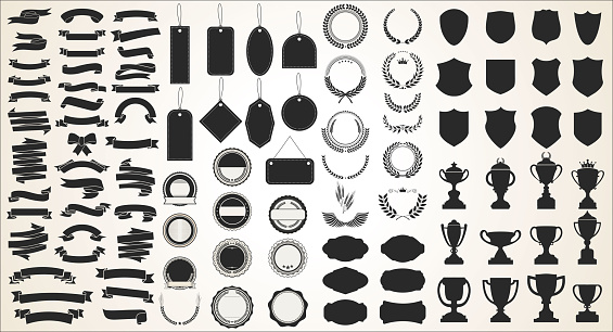 A collection of various black ribbons tags laurels shields and trophies
