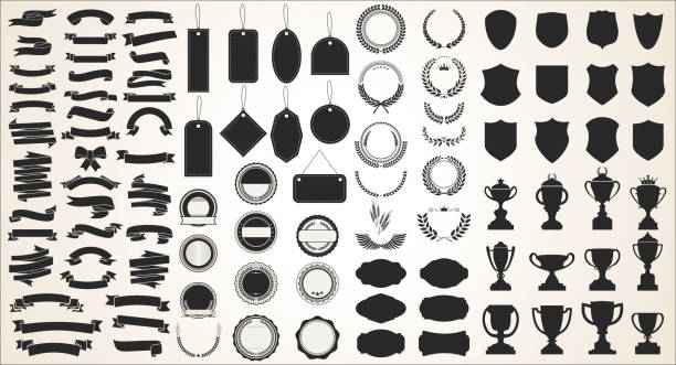 a collection of various black ribbons tags laurels shields and trophies - ribbon sewing item stock illustrations