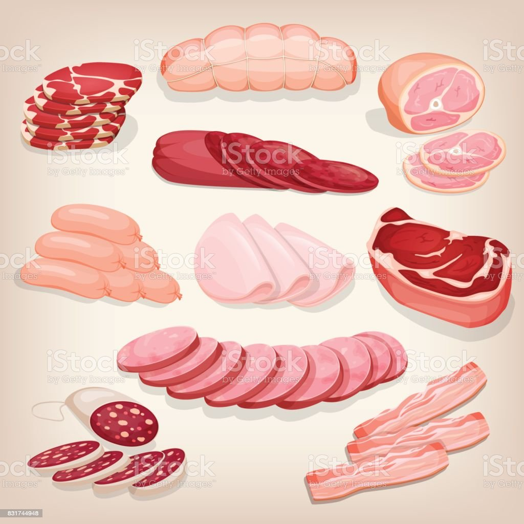 Collection of various delicious meat products. Set of different butchery meat including salami, prosciutto, pepperoni, ham, bacon and sausages. Cartoon style icon. Restaurant menu illustration. - arte vettoriale royalty-free di Agnello - Carne