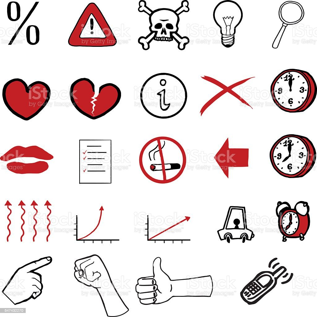 Collection of various doodled icons – Vektorgrafik