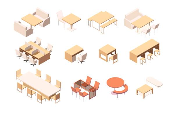 sammlung von verschiedenen möbeln für verschiedene institutionen und arbeitsplatz. - schultische stock-grafiken, -clipart, -cartoons und -symbole
