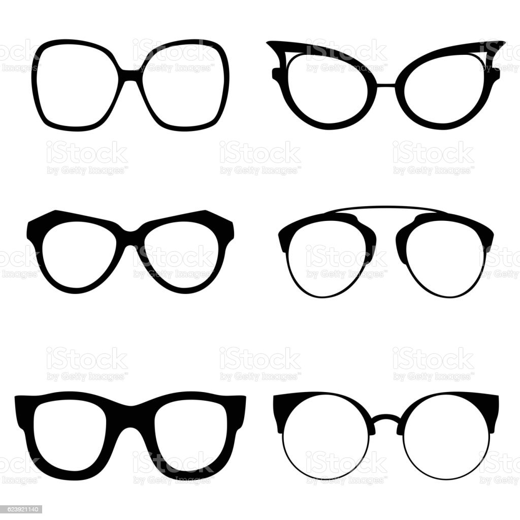Collection of various glasses. To be worn by women, men vector art illustration