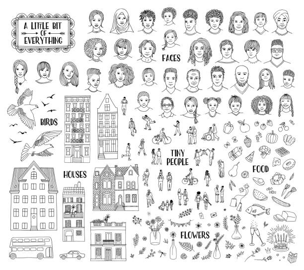 Collection of various hand drawn items vector art illustration