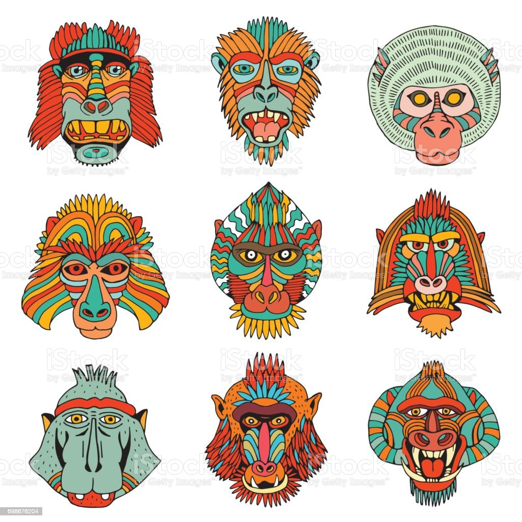 collection of various monkey faces doodle cartoon face of primate