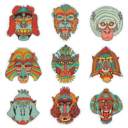 Collection of Various Monkey Faces. Doodle Cartoon Face of Primate on White Background. Hand Drawn illustration.