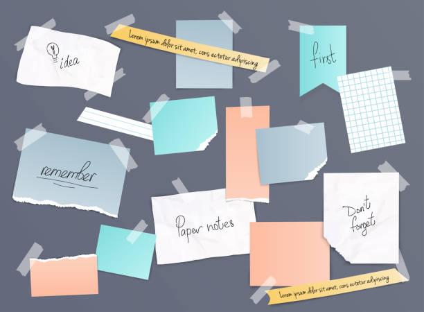 sammlung von verschiedenen notizzetteln, banner-set. verschiedene papierfetzen, die mit klebeband verklebt sind. vektor-illustration. - anschlagbrett stock-grafiken, -clipart, -cartoons und -symbole