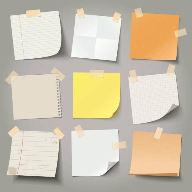 sammlung von verschiedenen hinweis papier, bereit für ihre nachricht. - klebezettel stock-grafiken, -clipart, -cartoons und -symbole