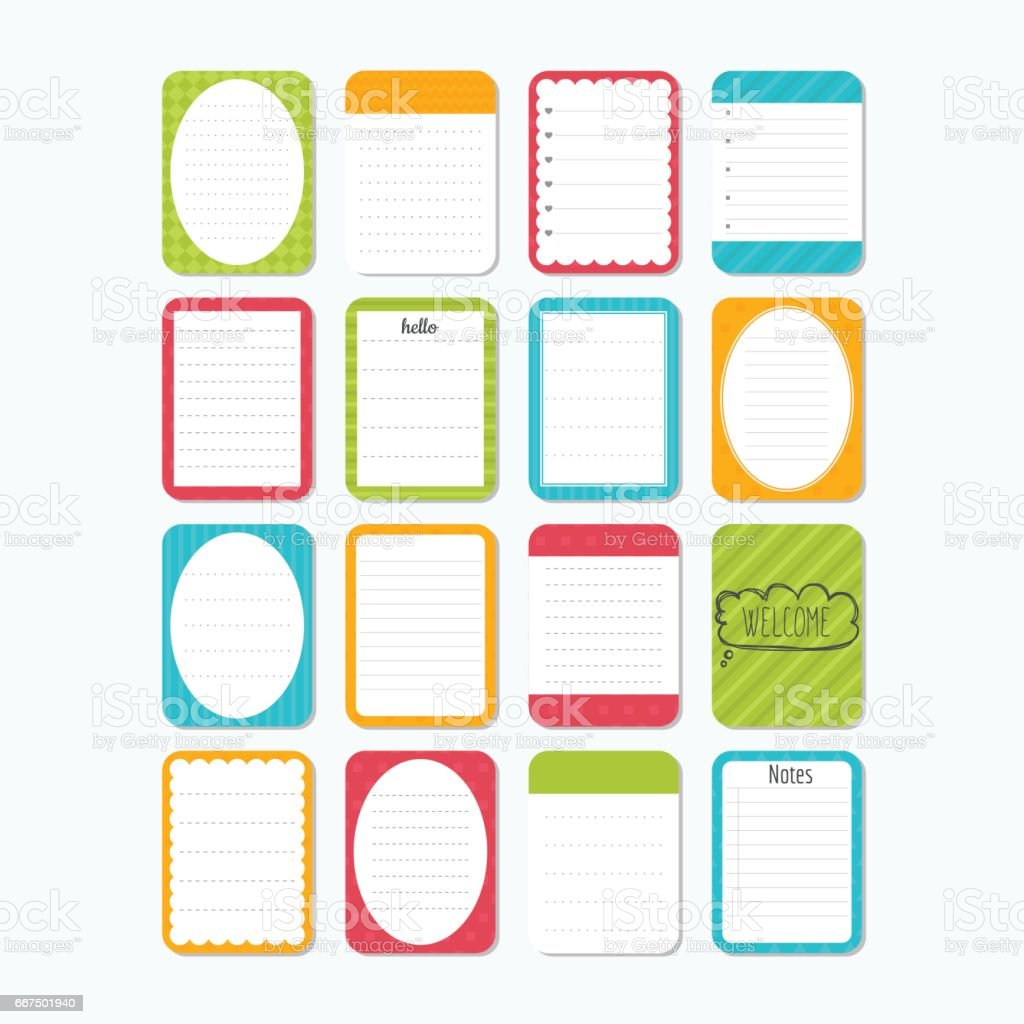 Collection Of Various Note Papers Template For Notebooks