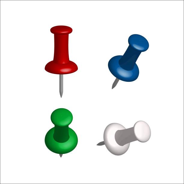 Sammlung von verschiedenen Push-Pins. – Vektorgrafik