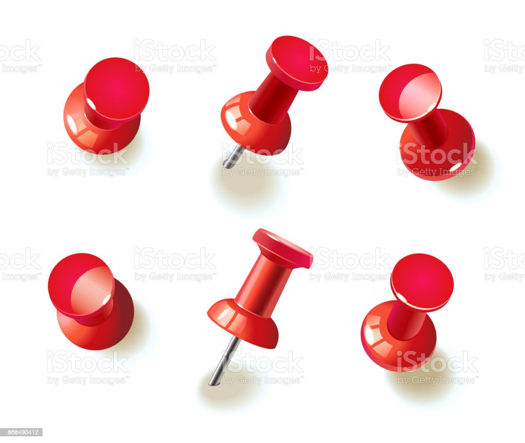 Collection of various red pushpins