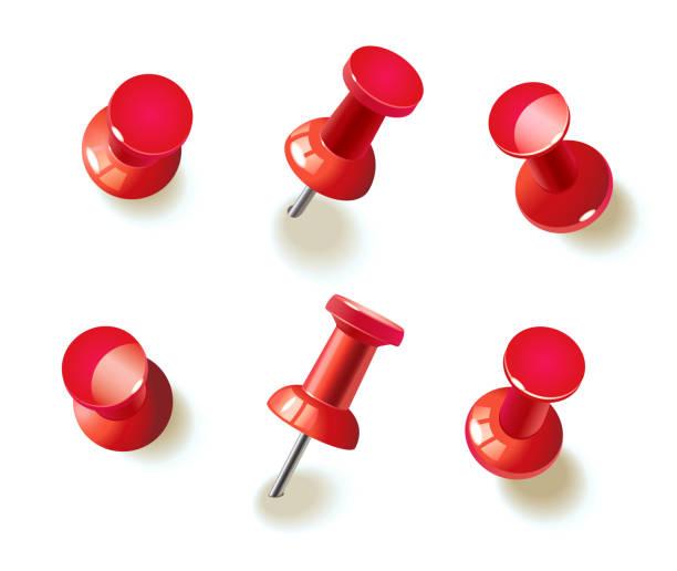 sammlung von verschiedenen roten pins - heftzwecke stock-grafiken, -clipart, -cartoons und -symbole