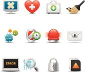 Collection of various security icons