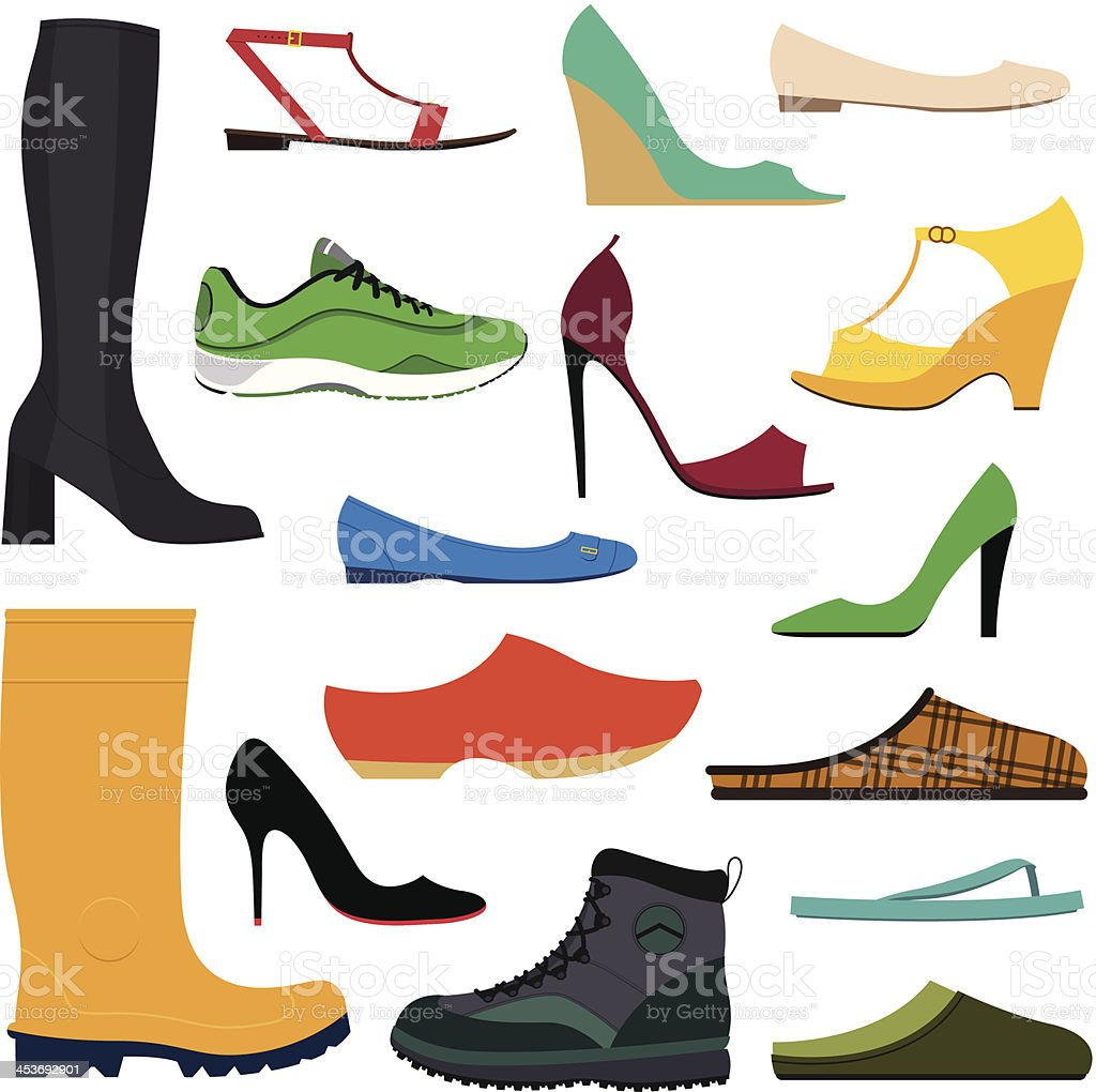 Collection of various shoes vector art illustration