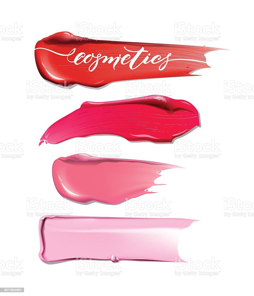 Collection of various Smears lipstick on white background. vector art illustration