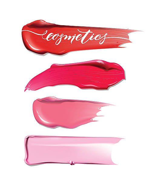 ilustrações de stock, clip art, desenhos animados e ícones de collection of various smears lipstick on white background. - boca suja