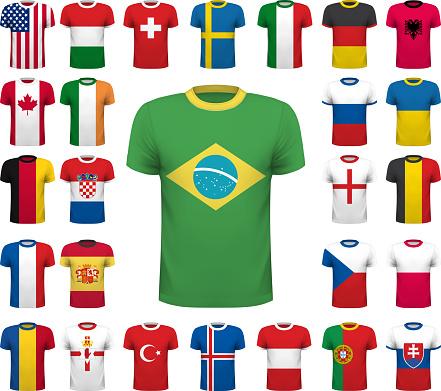 Collection of various soccer jerseys. National shirt design. Vec