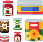 Collection of various tins canned goods food metal and glass container vector illustration