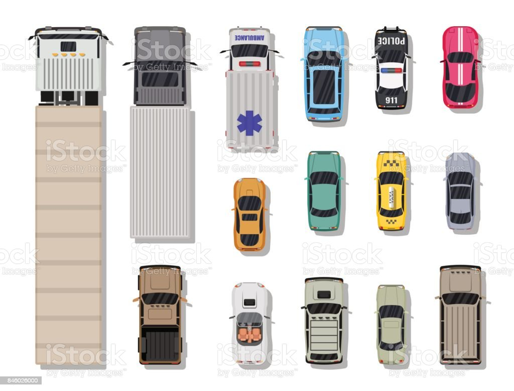 Collection of various vehicles. Top view. vector art illustration