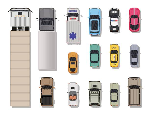 Collection of various vehicles. Top view. Collection of various vehicles. Roadster, taxi, police SUV, ambulance, sedan, truck. Car for transportation, cargo and emergency services. Top view. Vector illustration in flat style overhead stock illustrations