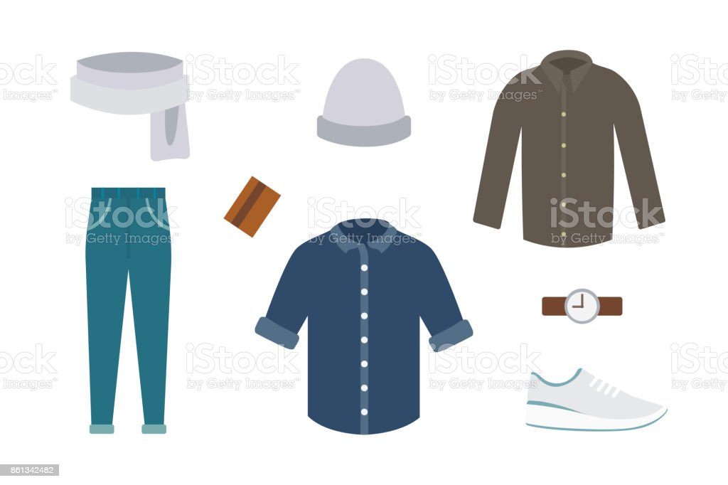 Collection of various wear and shoes for cold season. Mens autumn look. Clothing in flat style design vector art illustration