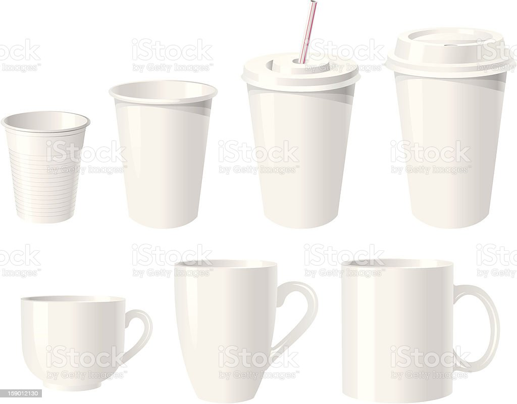 Collection of various white coffee cups vector art illustration
