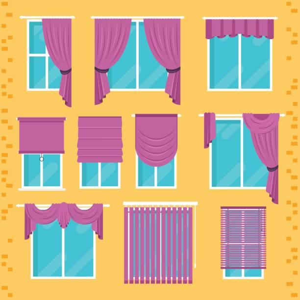 sammlung von verschiedenen fenster-behandlungen: vorhänge, gardinen, farben, jalousien. - stoffrollos stock-grafiken, -clipart, -cartoons und -symbole