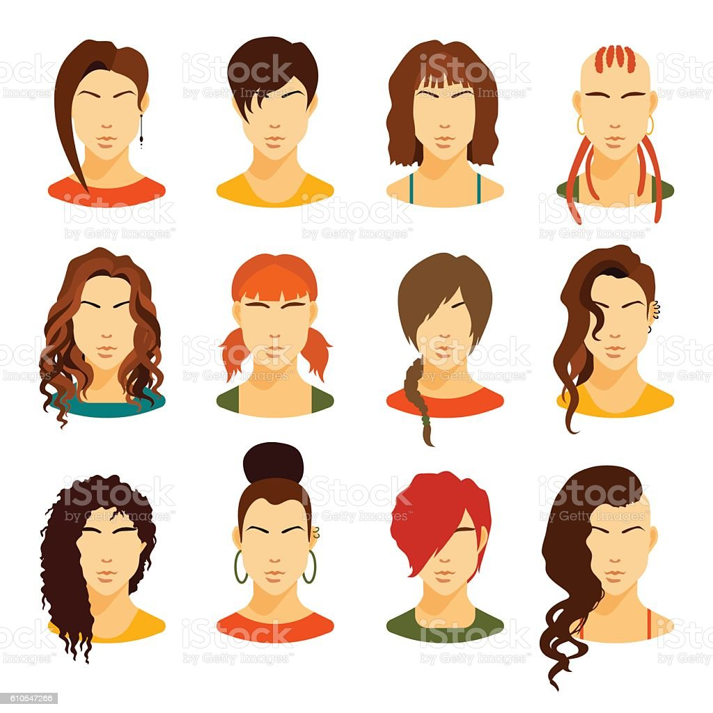 Collection of various women avatars with stylish haircuts. vector art illustration