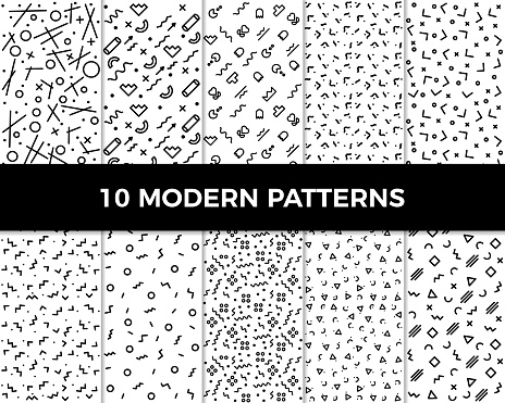 Collection of vector abstract geometric patterns in modern style. 80's and 90's designs in black and white can be used for backgrounds, banners, textile, flyers, cards, etc