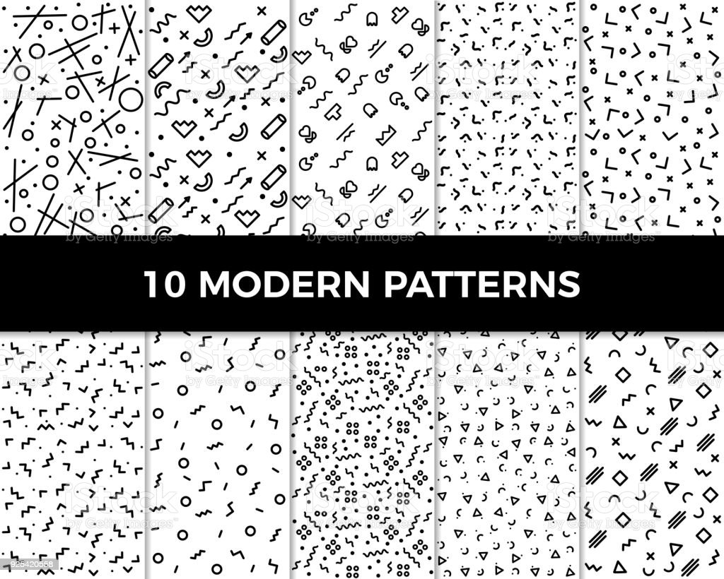 Collection of vector abstract geometric patterns in modern style. 80's and 90's designs in black and white can be used for backgrounds, banners, textile, flyers, cards, etc vector art illustration