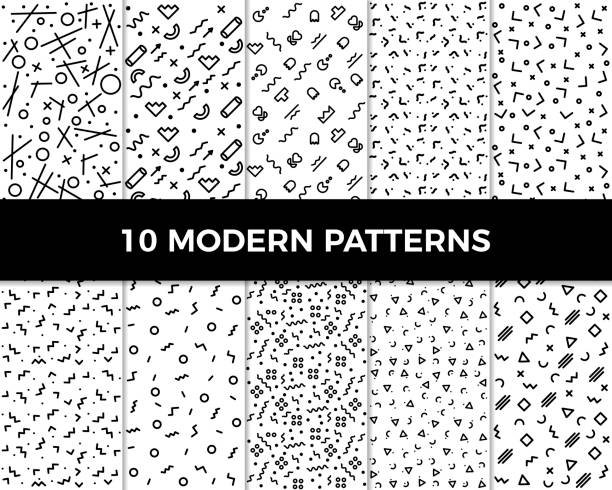 Collection of vector abstract geometric patterns in modern style. 80's and 90's designs in black and white can be used for backgrounds, banners, textile, flyers, cards, etc vector eps10 zigzag stock illustrations