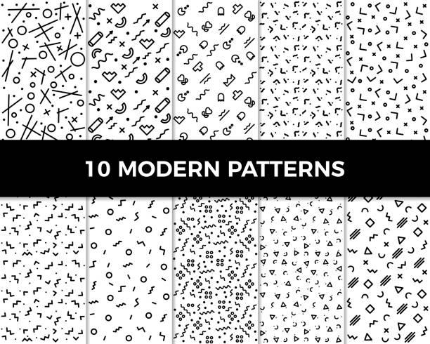 ilustrações, clipart, desenhos animados e ícones de coleção de padrões geométricos abstratos de vetores em estilo moderno. anos 80 e 90 desenhos em preto e branco podem ser usados para planos de fundo, banners, têxteis, panfletos, cartões, etc - moda hipster