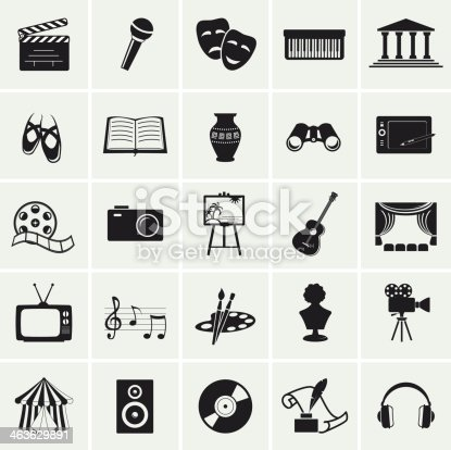 Collection of 25 arts and creative icons. Vector illustration.