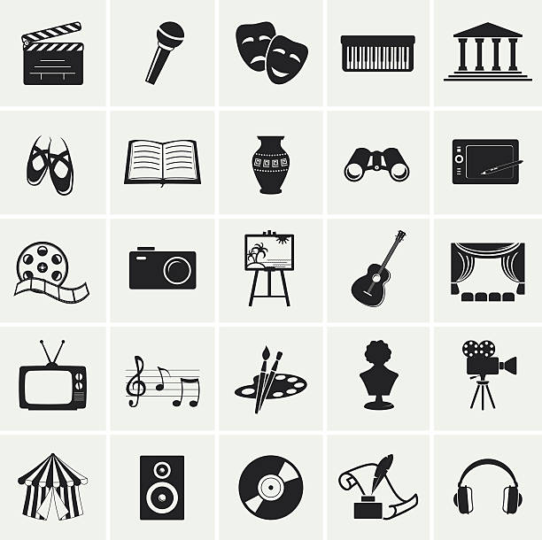 collection of vector arts icons. - gelenek stock illustrations