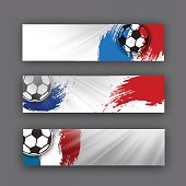 collection of vector banners on a football theme. Soccer ball on background of the flag. football header for website or print