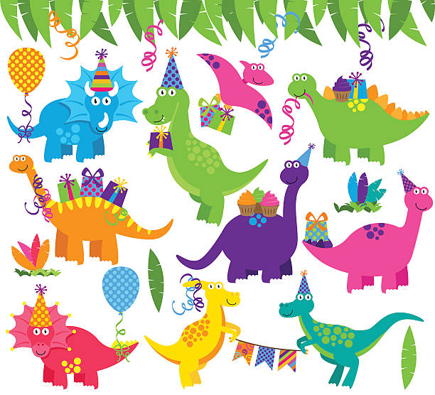 collection of vector birthday party or party dinosaurs and decorations - fossilized leaves stock illustrations