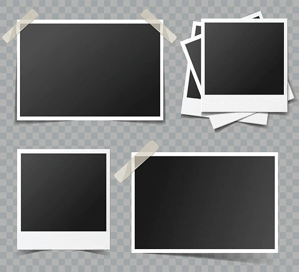 collection of vector blank photo frames with transparent shadow effects - record analog audio stock illustrations