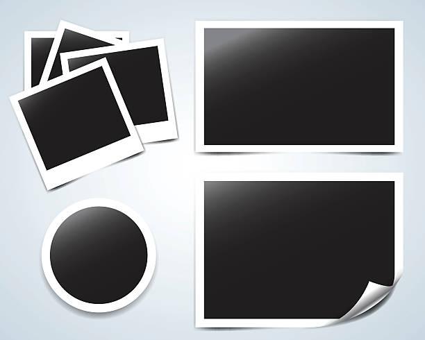sammlung von vektor-leere fotorahmen mit transparente schatten-effekte - bildformate stock-grafiken, -clipart, -cartoons und -symbole