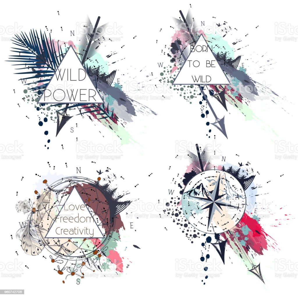 Collection of vector boho tribal labels in fashion spotty style vector art illustration