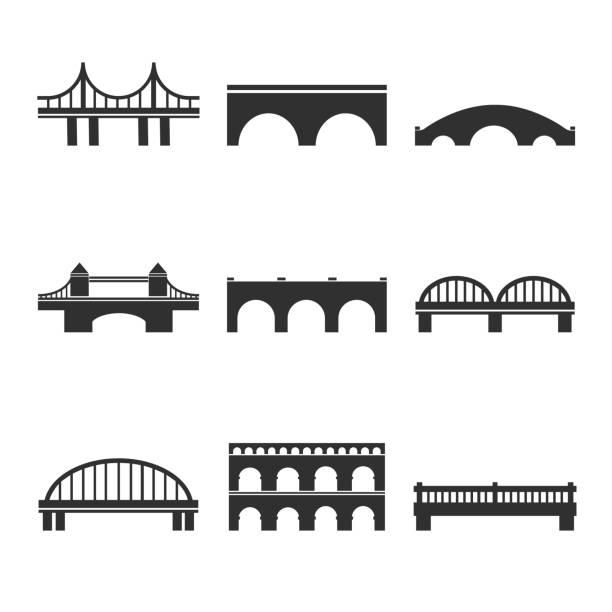 웹에 대 한 벡터 교량 아이콘의 컬렉션 인쇄, 모바일 애플 리 케이 션 디자인 - bridge stock illustrations