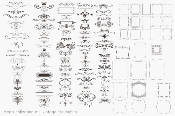 stockillustraties, clipart, cartoons en iconen met verzameling van vector kalligrafie elementen, floreert en pagina decoraties, mega set voor design - archiefbeelden