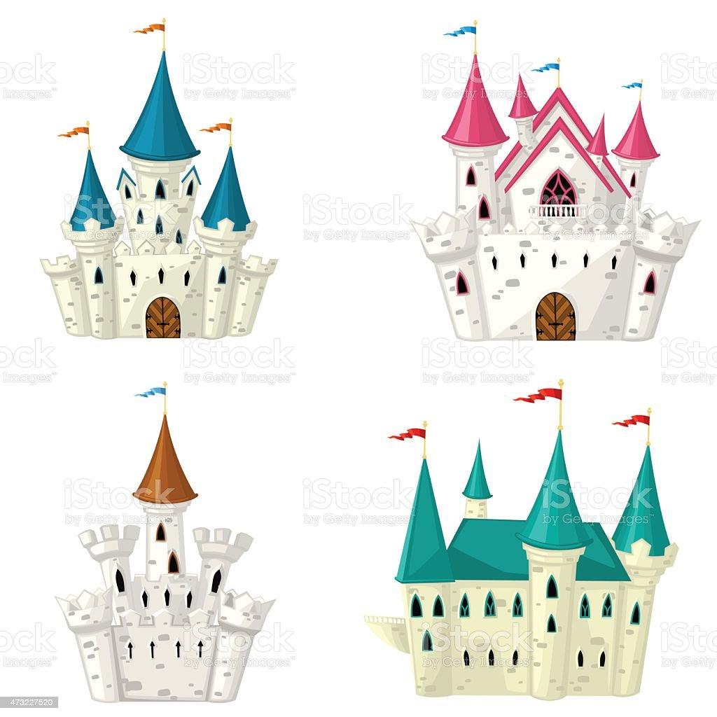 Collection of vector cartoon fairytale castle vector art illustration