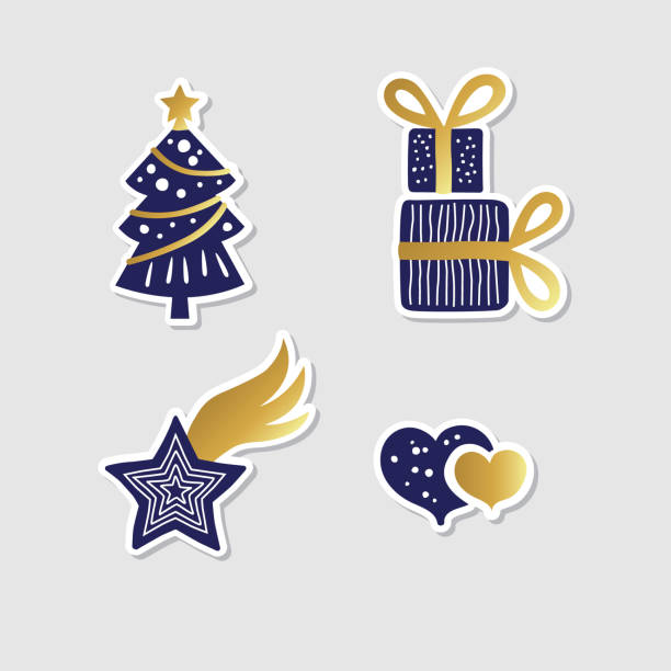 collection of vector christmas stickers vector art illustration